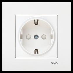 Viko - Viko Karre/Meridian Beyaz Topraklı Priz Ç.K. Mekanizma (Çerçeve Hariç) (Çocuk Korumalı) (1)