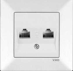 Viko Karre/Meridian Beyaz İkili Data Cat6 Mekanizma (Çerçeve Hariç) - Thumbnail