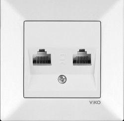 Viko Karre/Meridian Beyaz İkili Data Cat6 Mekanizma (Çerçeve Hariç)
