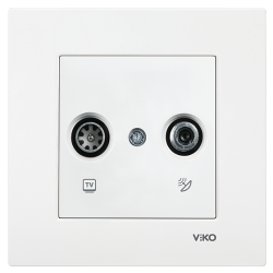 Viko Karre/Meridian Beyaz Tv-Sat Geçişli 8db Mekanizma (Çerçeve Hariç)