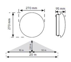 NADE 10951 HF (Radar) Sensörlü Ledli Acil Aydınlatma Özellikli Armatür (Beyaz Işık) - Thumbnail
