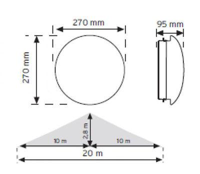 NADE 10951 HF (Radar) Sensörlü Ledli Acil Aydınlatma Özellikli Armatür (Beyaz Işık)