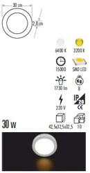 Cata - Cata 30w Sıva Üstü Led Panel (Yuvarlak) (Günışığı) Ct-5273g-Alüminyum (1)