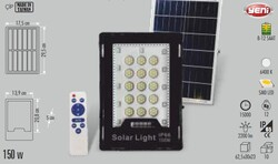Cata - Cata 150w Solar Led Sokak Projektör (Kumandalı) CT-4643 (1)