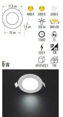 Cata 6w Slim Panel (Beyaz) CT-5145b