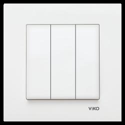 Viko Karre/Meridian Beyaz Üçlü Anahtar Mekanizma (Çerçeve Hariç) - Thumbnail