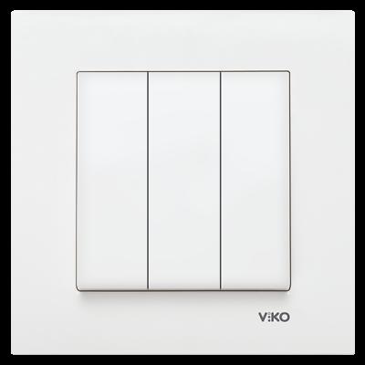 Viko Karre/Meridian Beyaz Üçlü Anahtar Mekanizma (Çerçeve Hariç)