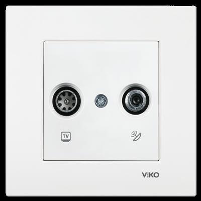 Viko Karre/Meridian Beyaz Tv-Sat Geçişli 11db Mekanizma (Çerçeve Hariç)