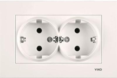 Viko Karre/Meridian Krem İkili Priz Mekanizma (Çerçeve Hariç) (Topraksız)