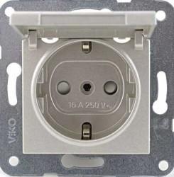 Artline Novella/Trenda Metalik Beyaz Kapaklı Toraklı Priz Ç.K. Kapak (Mekanizma Hariç) - Thumbnail