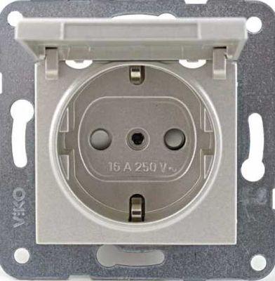 Artline Novella/Trenda Metalik Beyaz Kapaklı Toraklı Priz Ç.K. Kapak (Mekanizma Hariç)