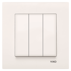 Viko Karre/Meridian Krem Üçlü Anahtar Mekanizma ( Çerçeve Hariç ) - Thumbnail
