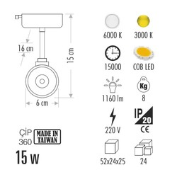 Cata 15w Hermes Ray Tipi Armatür (Beyaz) Ct-5338 - Thumbnail