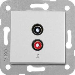 Viko Artline - Artline Novella /Trenda Metalik Beyaz Müzik Yayın Prizi Kapak (Mekanizma Hariç) (1)