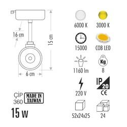 Cata Ct-5338b 15w Hermes Ray Tipi Armatür (Beyaz) - Thumbnail