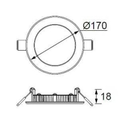 JUPİTER - LD472 S YUVARLAK PANEL LED 12W 720LM 170mm ÇAP (GÜNIŞIĞI) (1)