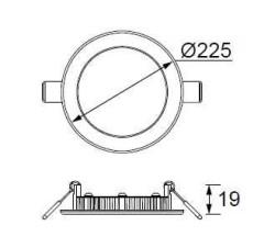 JUPİTER - JUPİTER LD473 S YUVARLAK PANEL LED 18W 1100LM 225mm ÇAP (GÜNIŞIĞI) (1)